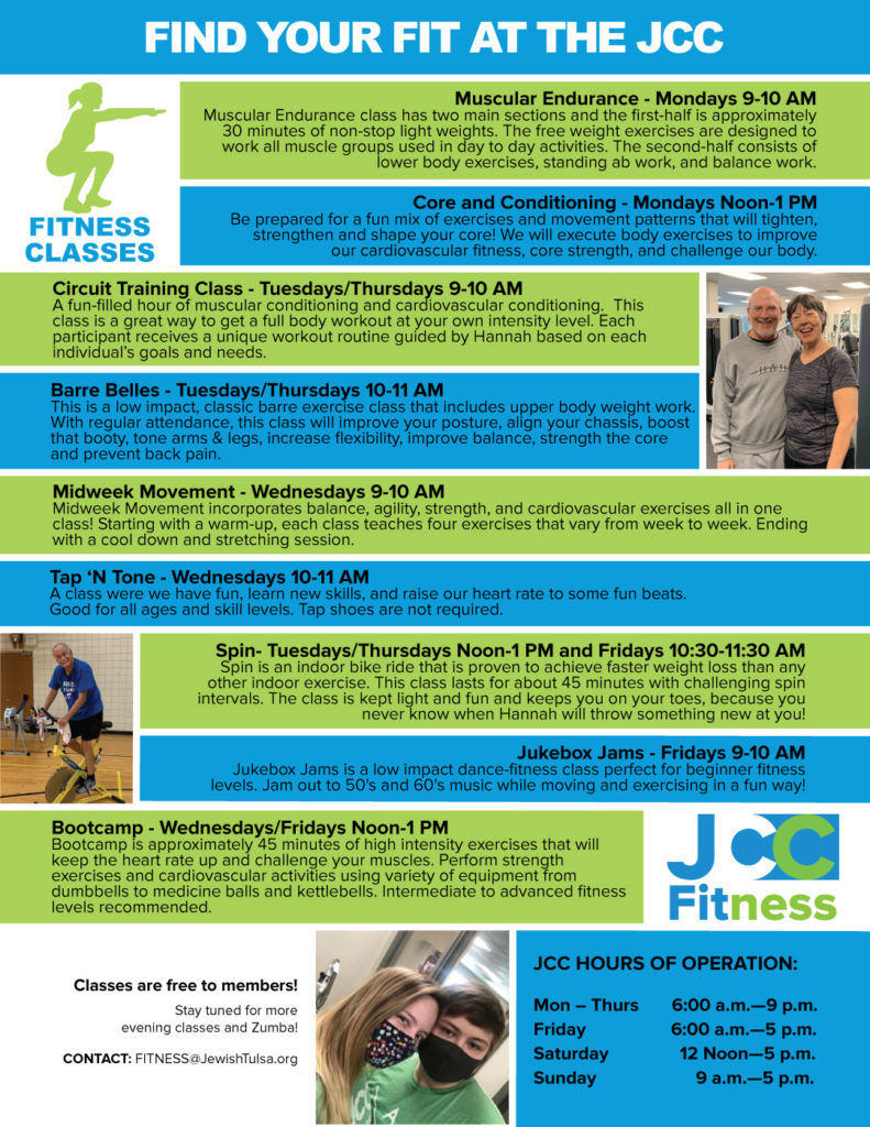 Weekly Fitness Schedule for the JCC and Hours of Operation